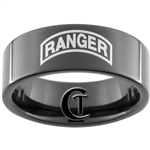 9mm Black Pipe Tungsten Carbide ARMY Ranger Design Ring.