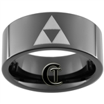 9mm Black Pipe Tungsten Carbide Zelda Triforce Design