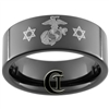 9mm Black Pipe Tungsten Carbide Marines Judaism Star of David Laser Design.