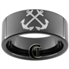 9mm Black Pipe Tungsten Carbide NAVY Anchor Design Ring