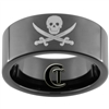9mm Black Pipe Tungsten Carbide Skull Pirate Scurvy Dog Design
