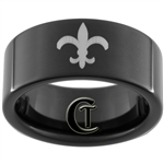 9mm Black Pipe Tungsten Carbide Fleur De Lis Design