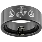 9mm Black Pipe Tungsten Carbide Marines Eagle Globe and Anchor & Sergeant Design Ring.