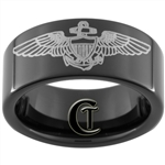 9mm Black Pipe Tungsten Carbide Military NAVY Naval Aviator Design Ring.