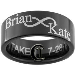 Build Your Own Custom 9mm Black Pipe Tungsten Carbide Infinity Symbol Names Design Ring