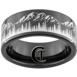 9mm Black Pipe Tungsten Carbide Mountain Trees Outdoors Design