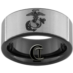 9mm Black Pipe Satin Finish Tungsten Carbide Marines Marines Eagle Globe and Anchor Design