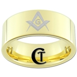 9mm Gold Pipe Tungsten Carbide Masonic Design