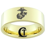 9mm 14Kt Gold Plated Pipe Tungsten Carbide Marines Eagle Globe and Anchor Design