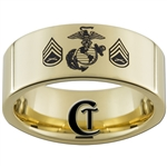 9mm 14Kt Gold Plated Pipe Tungsten Carbide MARINES Symbol & Staff Sergeant Design.