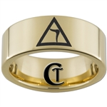 9mm Gold Pipe Tungsten Carbide Masonic Yod Design
