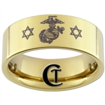 9mm 14Kt Gold Plated Pipe Tungsten Carbide Marines Jewish Star of David Design Ring