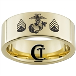 9mm 14Kt Gold Plated Pipe Tungsten Carbide Marines Eagle Globe and Anchor and Sergeant Rank Design