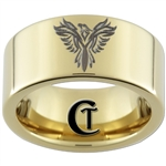 9mm 14Kt Gold Plated Pipe Tungsten Carbide Phoenix Design Ring.