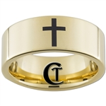9mm Gold Pipe Tungsten Carbide Cross Ring Design