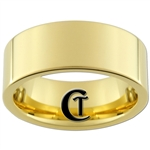 9mm Gold Pipe Tungsten Carbide Ring