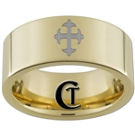 9mm Gold Pipe Tungsten Carbide Medieval Cross Design