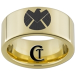 9mm Gold Pipe Tungsten Carbide Avengers S.H.I.E.L.D. Design