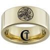 9mm Gold Pipe Tungsten Carbide Lasered Celtic Dogs Ring Design