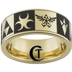 9mm Gold Pipe Tungsten Carbide Legend Of Zelda Design