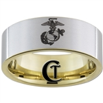 9mm 14Kt Gold Plated Pipe Tungsten Carbide Satin Finish Marines Eagle Globe and Anchor Design