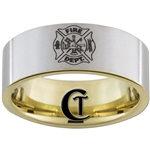9mm Gold Pipe Satin Finish Tungsten Carbide Fireman Design