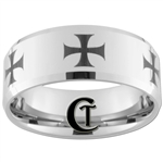 10mm Beveled Tungsten Carbide Maltese Cross Design