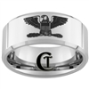 10mm Beveled Tungsten Carbide Military Colonel Eagle Design Ring.