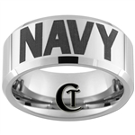 10mm Beveled Tungsten Carbide NAVY Letters Design.
