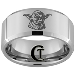 10mm Beveled Tungsten Carbide Star Wars Yoda Design