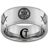 10mm Beveled Tungsten Carbide Alternating ARMY Crests and Masonic Symbols Design Ring.