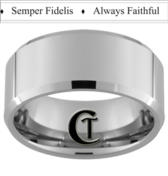 10mm Beveled Tungsten Carbide Marines Semper Fidelis Always Faithful Design.