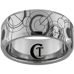 10mm Beveled Tungsten Carbide Doctor Who Gallifreyan Design.