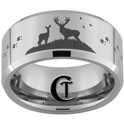 10mm Beveled Tungsten Carbide Buck & Doe With Deer Tracks Hunting Design.