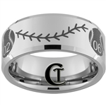 Build Your Own Custom 10mm Beveled Tungsten Carbide Multiple Baseball Number With Baseballs with Stitches Design