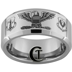 10mm Beveled Tungsten Carbide Air Force Air National Guard Colonel Eagle Design Ring.