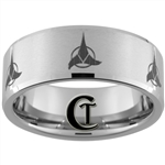 10mm Beveled Tungsten Carbide With Satin Finish Klingon Design