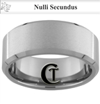 10mm Beveled Tungsten Carbide Satin Finish Center Wolf Latin Second To None Design Ring.