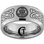 10mm Beveled Tungsten Carbide Stone Center Army & American Flag Design.