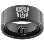 10mm Black Beveled Tungsten Carbide Transformers Autobot Design