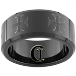 10mm Black Beveled Tungsten Carbide Maltese Cross Design