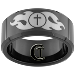 10mm Black Beveled Tungsten Carbide Cross And Fire Design