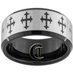 10mm Black Beveled Tungsten Carbide Cross Design