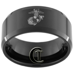 10mm Black Beveled Tungsten Carbide Marines Eagle Globe and Anchor Design.