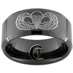 10mm Black Beveled Tungsten Carbide Army Airborne Design