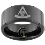 10mm Black Beveled Tungsten Carbide Masonic Design