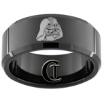 10mm Black Beveled Tungsten Carbide Darth Vader Design