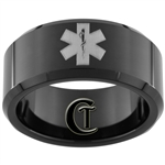 10mm Black Beveled Tungsten Carbide Medical Alert Design