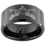 10mm Black Beveled Tungsten Carbide Army Armored Tank Division Design.