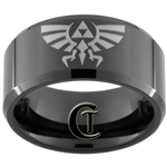 10mm Black Beveled Tungsten Carbide Legend Of Zelda Design